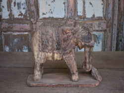 old painted teak elephant temple carving, rajasthan <b>sold<b>